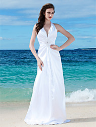 Lanting Sheath/Column Plus Sizes Wedding Dress - White Floor-length V-neck Charmeuse