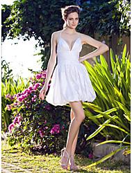 A-line Plus Sizes Wedding Dress - White Short/Mini V-neck Taffeta
