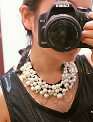 Pearl Inlaid Bronze Flower Chain Statement Necklace