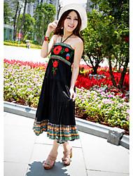 Cotton Halter Neck Maxi Dress In Black