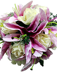 "Wedding Flowers Round Roses Bouquets Wedding Purple Satin Purple 11.02""(Approx.28cm)"