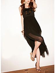 Scoop Neck Baumwolle Maxi-Kleid mit Riemen (weitere Farben)