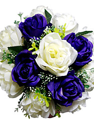 Royal Purple & White Satin Bridal Bouquet