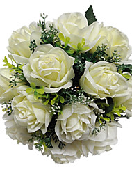 "Wedding Flowers Round Roses Bouquets Wedding Satin Ivory 11.02""(Approx.28cm)"