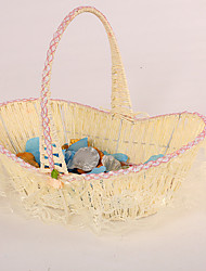 Ivory Flower Girl Basket With Lace Trim