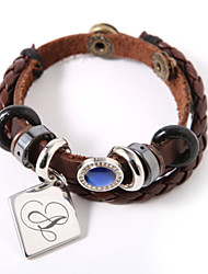 Personalized Leather Bracelet With Charm And Blue Gem
