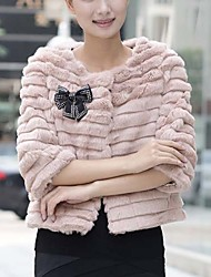 Collarless Collar 3/4 Sleeve Rabbit Fur With Bow(s) Evening/Casual Jacket(More Colors)