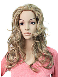 sin tapa larga peluca sintética pelo rizado