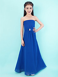 Lanting Bride Floor-length Chiffon Junior Bridesmaid Dress A-line Strapless Natural with Crystal Detailing / Side Draping