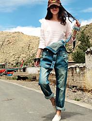 falso velho jeans macacão azul