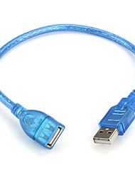 USB 2.0 A Male to A Female Extension Cable (Blue) 0.3M