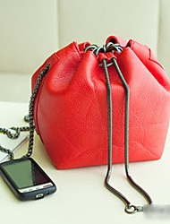 Gold Chain Soft Leather Bucket Bag