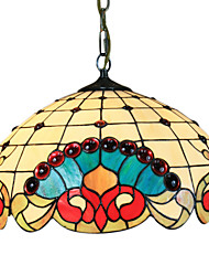 Tiffany Pendant Light with 2 Light in Artistic Floral Patterned Shade