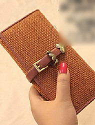 Canvas Long Heart Gold Lock Wallet