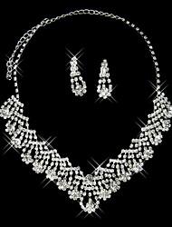 belíssimo conjunto de duas peças de strass brilho das senhoras jóias (45 cm)