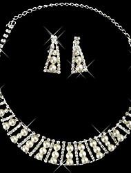 Silver Pearl clin pièce de deux perles ensemble dames bijoux de mariage (45 cm)