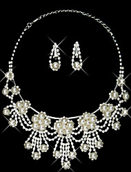 Elegant Pearl Classical Style Ladies Necklace and Earrings Jewelry Set (45 cm)