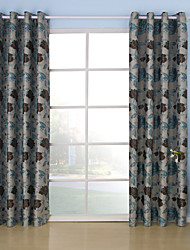 (One Panel Grommet Top) Luxuriant Country Floral Jacquard Energy Saving Curtain