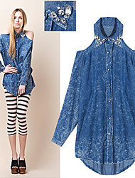 Baggy Long Sleeve Jean Blouse With Belt