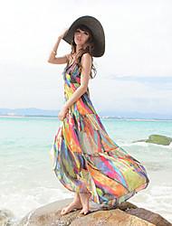Chiffon-Mantel V-Ausschnitt Spaghettiträger Maxi-Kleid
