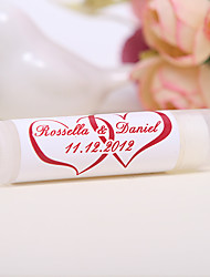 Personlized Lip Balm Tube Favors - Double Heart (Set of 12)