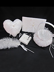 Wedding Collection Set In White Satin With Exquisite Embroidery Covery And Refined Feather Pen Set (4 Pieces)