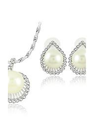exquise perle bijoux en strass dames Ensemble collier et boucles d'oreilles, y compris