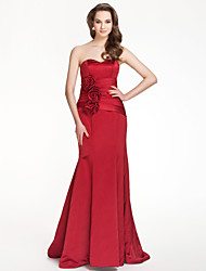 Lanting Floor-length Satin Bridesmaid Dress - Ruby Plus Sizes / Petite Trumpet/Mermaid Strapless / Sweetheart