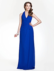 Floor-length Chiffon Bridesmaid Dress - Royal Blue Plus Sizes / Petite Sheath/Column Halter / V-neck
