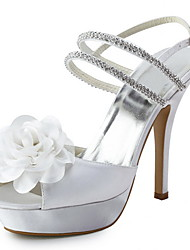 Satin Stiletto Heel Sandals With Satin Flower Wedding Shoes (More Colors Available)