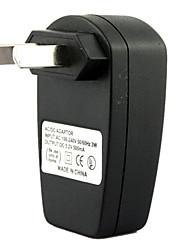 au conector USB AC DC fuente de alimentación Adaptador de cargador de pared cargador de MP3, MP4 y DV (negro)