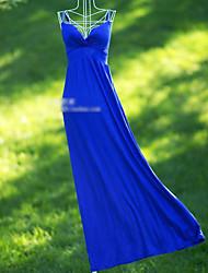 azul vestido de noite da v-garganta