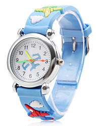 Children's Airplane Pattern Blue Silicone Band Quartz Analog Wrist Watch Cool Watches Unique Watches