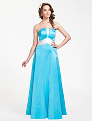 A-Line Princess Strapless Floor Length Satin Bridesmaid Dress with Ruching