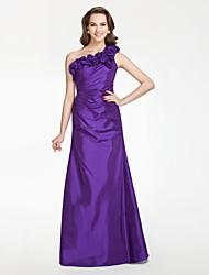 Floor-length Taffeta Bridesmaid Dress - Regency Plus Sizes / Petite A-line / Princess One Shoulder