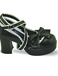 Zapatos Amaloli Hecho a Mano Tacón alto Zapatos Lazo 7.5 CM Negro Para Mujer Cuero Sintético/Cuero de Poliuretano