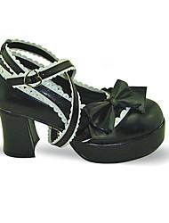 Lolita Shoes Sweet Lolita Handmade High Heel Shoes Bowknot 7.5 CM For PU Leather/Polyurethane Leather Polyurethane Leather