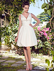 Lanting A-line Plus Sizes Wedding Dress - Ivory Knee-length Halter Taffeta