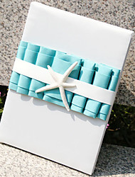 Beach Themed Blue Guest Book with Tri-folded Blank Pages Sign In Book