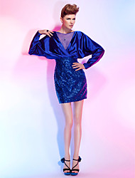 Cocktail Party Dress - Royal Blue Plus Sizes / Petite Sheath/Column Bateau Short/Mini Tulle / Sequined / Stretch Satin