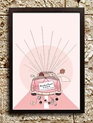 pintura huellas dactilares personalizado - luna de miel (incluye 6 colores de tinta, marco no incluido) de la boda del coral