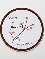 Personalized Round Favor Stickers – Red Flower  (Set of 36)