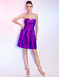 A-line Sweetheart Strapless Short/Mini Taffeta Cocktail Dress