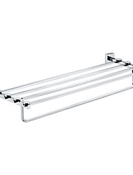 Contemporary Chrome Finished Solid Brass Bathroom Shelf With Towel Bar