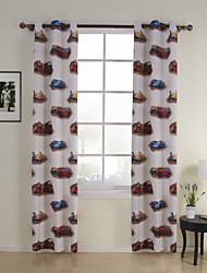 #(One Panel) Tab Top Print Cars Kids Energy Saving Curtain