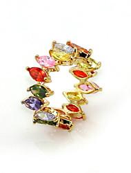 colorful cubic zirconia platinato forma irregolare con anello in oro 18k moda