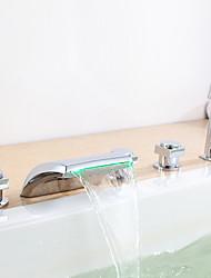 changement de couleur LED robinet de baignoire cascade hydroélectrique avec douche à main - lot de 5