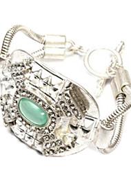 Emerald Silver Alloy Ladies' Fashion Bracelet