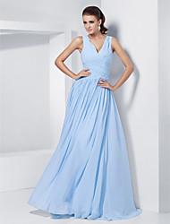 Ball / Formeller Abend / Militär Ball Kleid - Elegant A-Linie / Prinzessin V-Ausschnitt Boden-Länge Chiffon mitPerlstickerei /