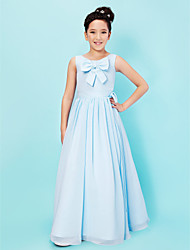 Floor-length Chiffon / Stretch Satin Junior Bridesmaid Dress - Sky Blue A-line / Princess Scoop